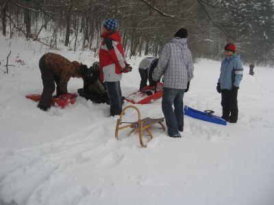 Vyučování na sněhu.