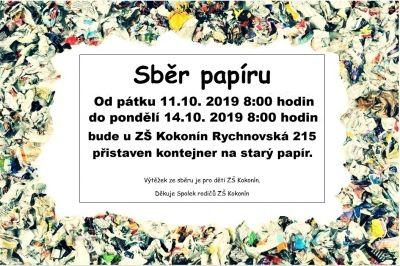 Sběr papíru 11.-14.10.2019